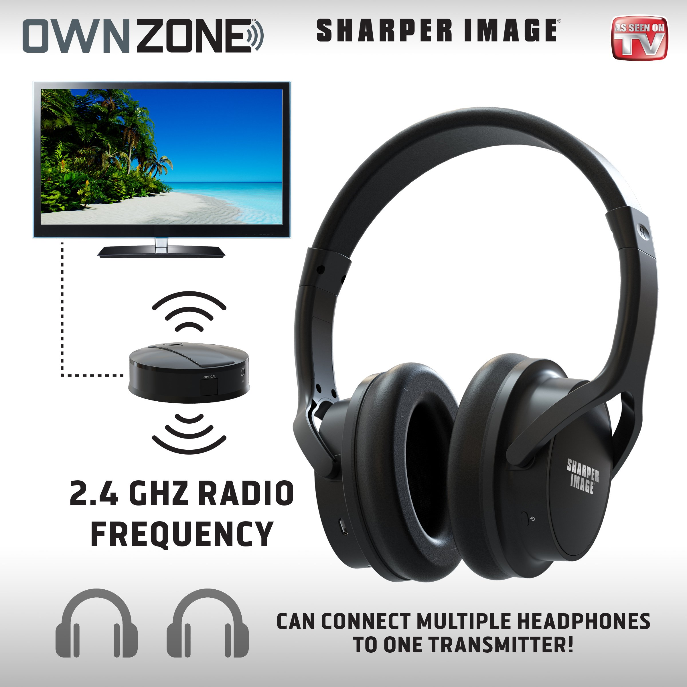 Sharper Image OWN ZONE Wireless Rechargeable TV Headphones- RF Connection, 2.4 GHz, Transmits Wirelessly up to 100ft, No Bluetooth Required, AUX, RCA, & Optical Cable Included (Black)