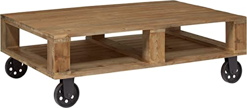 Amazon Brand Stone Beam Industrial Pallet Wood Coffee Table with Wheels, 51 W, Natural