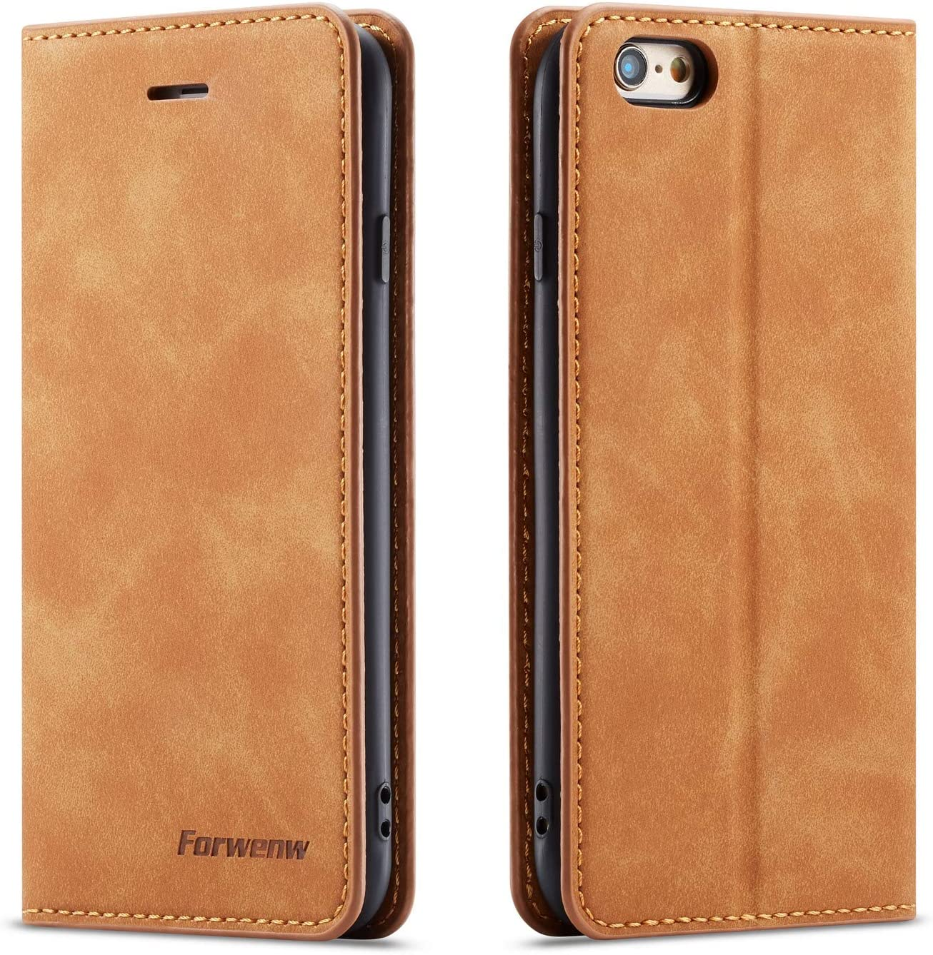 QLTYPRI iPhone 6 iPhone 6S Case, Premium PU Leather Cover TPU Bumper with Card Holder Kickstand Hidden Magnetic Adsorption Shockproof Flip Wallet Case for iPhone 6 iPhone 6S - Brown