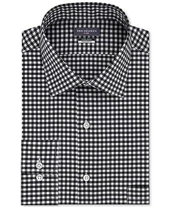 862cca102f Van Heusen Men s Classic Fit Wrinkle-Free Flex Collar Stretch Gingham Dress  Shirt Smokey Grey