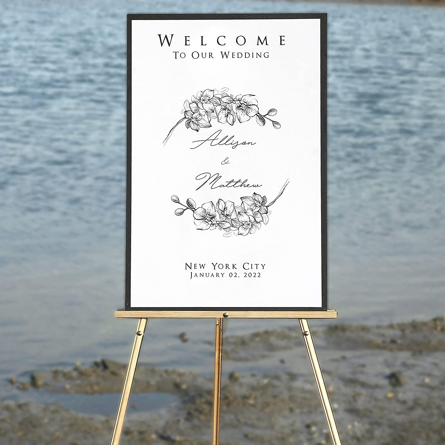 """Wedding Signage Custom Welcome Sign For Your Wedding Wedding /& Reception Decorations 20/""""x30/"""" Personalized Modern Welcome Sign Mounting Board Names and Date Free Shipping"""