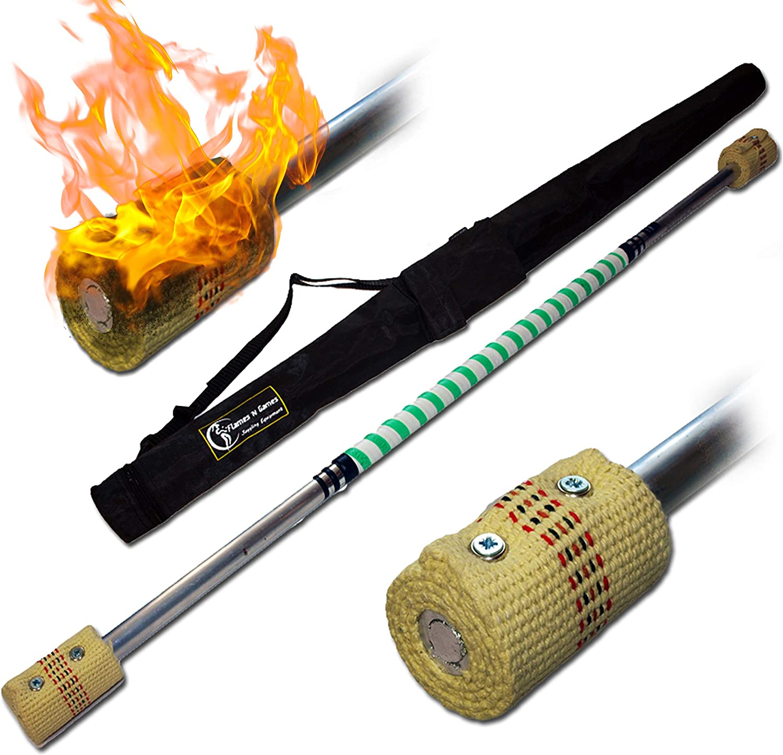 Flames /'N Games Fire Staff 1m 65mm wicks FREE Bag!