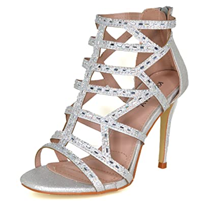 324eabc3ce00 Ladies Diamante High Heel Sandals Shoes Caged Evening Party UK Size 3-8  20343