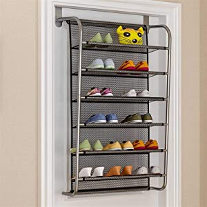 FPL-BM Multilayer Wall-Mounted Shoe Rack Hallway Space Saving Shoe Organizer Over The Door Shoes Hanger Shoe Cabinet for Home Furniture (Color : Black 6L)
