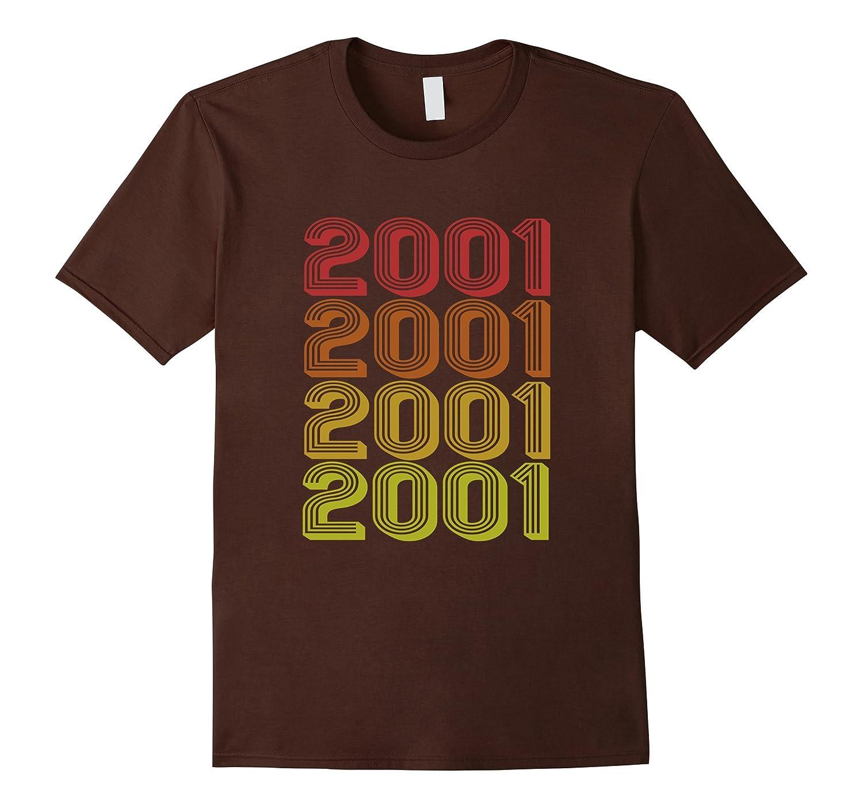 Retro 2001 T-Shirt Vintage 16 yrs old Bday 16th Birthday Tee-Vaci