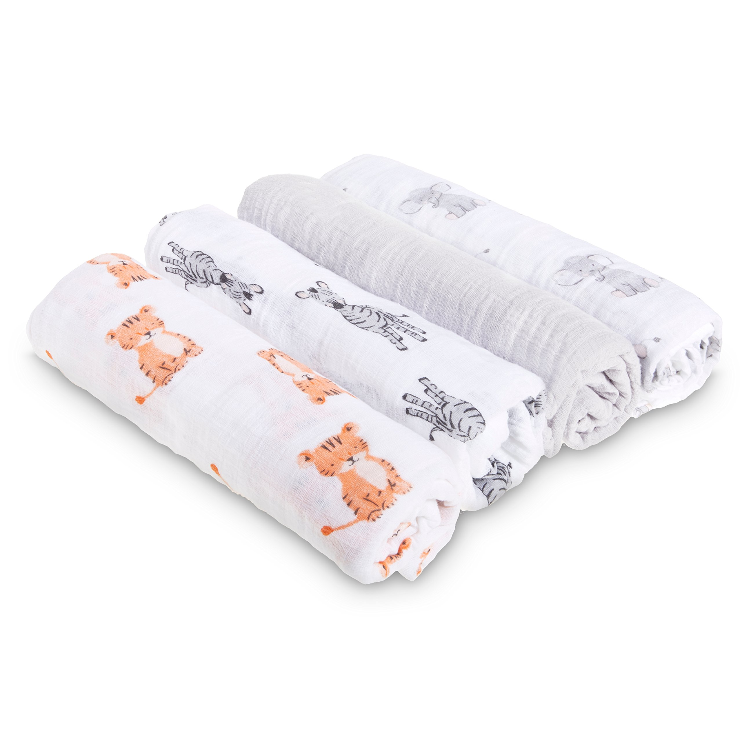 aden by aden + anais Swaddle Baby Blanket, 100% Cotton Muslin, 4 Pack, 44 X 44 inch, Safari Babes - Tiger / Zebra / Elephant