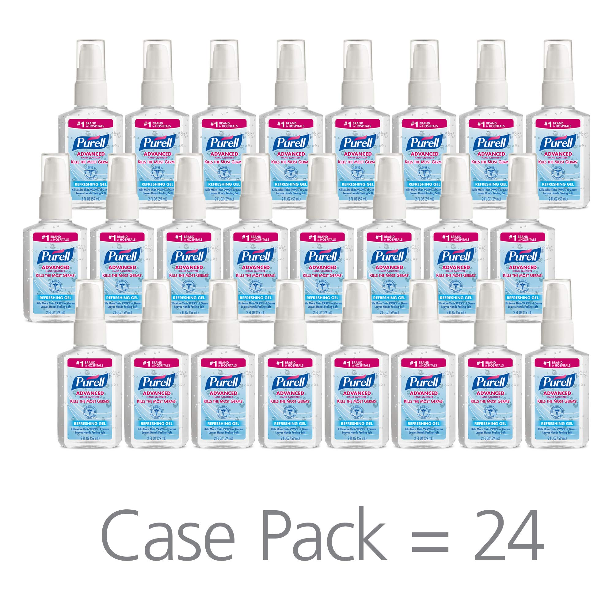 PURELL Advanced Hand Sanitizer, Refreshing Gel, 2 fl oz Sanitizer Portable,Travel Sized Pump Bottles (Case of 24) - 9606-24 by Purell