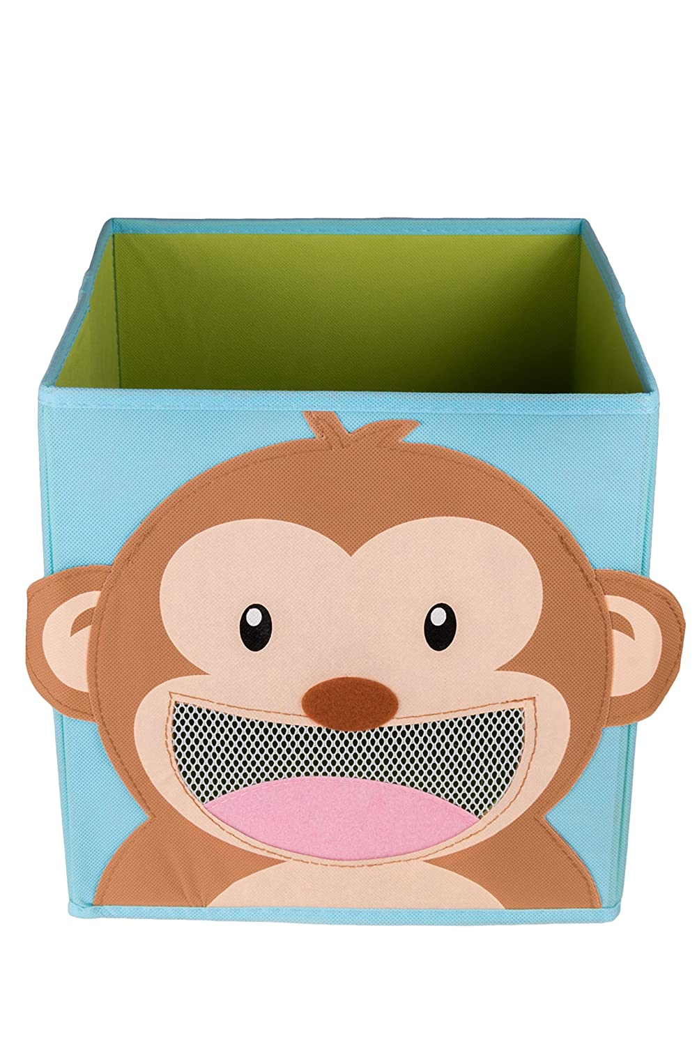 Clever Creations Cute Smiling Monkey Collapsible Toy Storage Organizer Toy Box Folding Storage Cube for Kids Bedroom | Perfect Size Storage Cube for Books, Kids Toys, Baby Toys, Baby Clothes