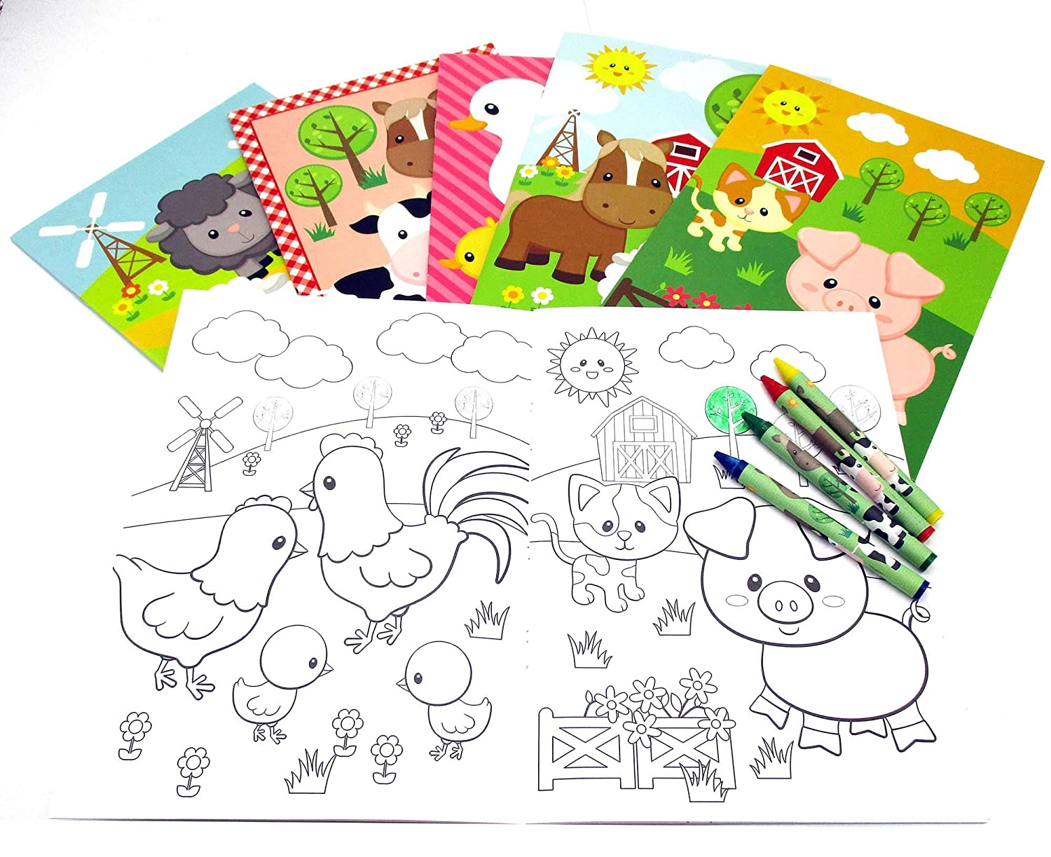 Amazon.com: Farm Animals Coloring Books with Crayons Party Favors ...