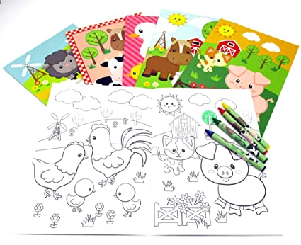 Amazon Com Farm Animals Coloring Books With Crayons Party Favors