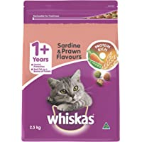 WHISKAS 1+ Years Sardine and Prawn Dry Cat Food 2.5kg Bag, 4 Pack