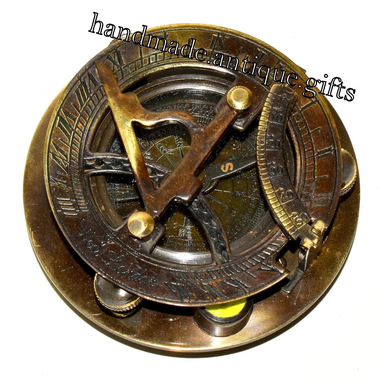 Vintage Antik Messing Sonnenuhr Kompass Maritim West London-Schreibtisch Top Decor Handmade Antique Gifts