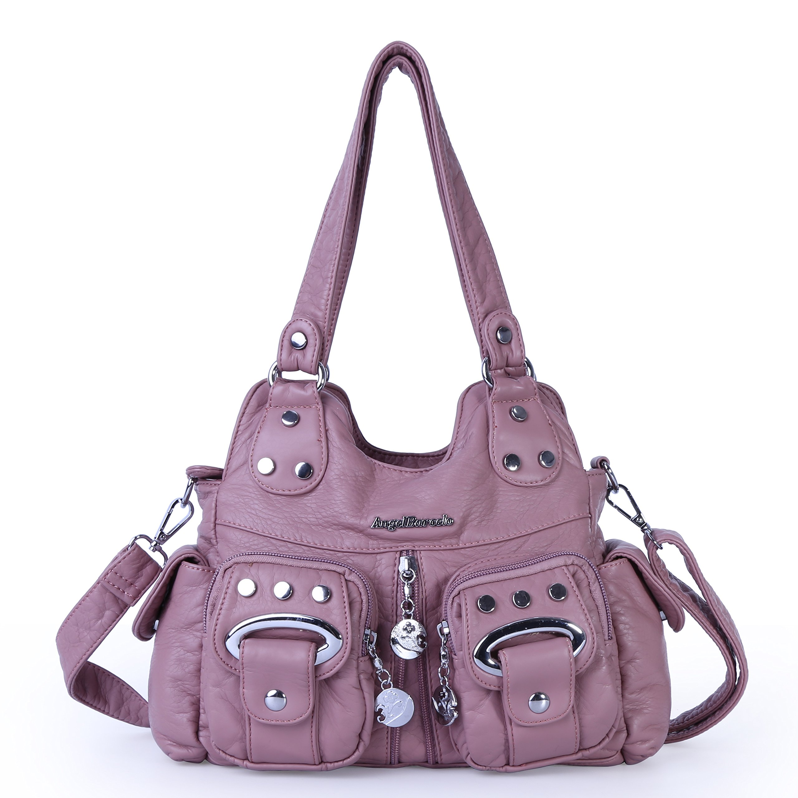 Angel Barcelo 3 Top Zippers Multi Pockets Purses and Handbags Leather Shoulder Bags Backpack Women (Pink)