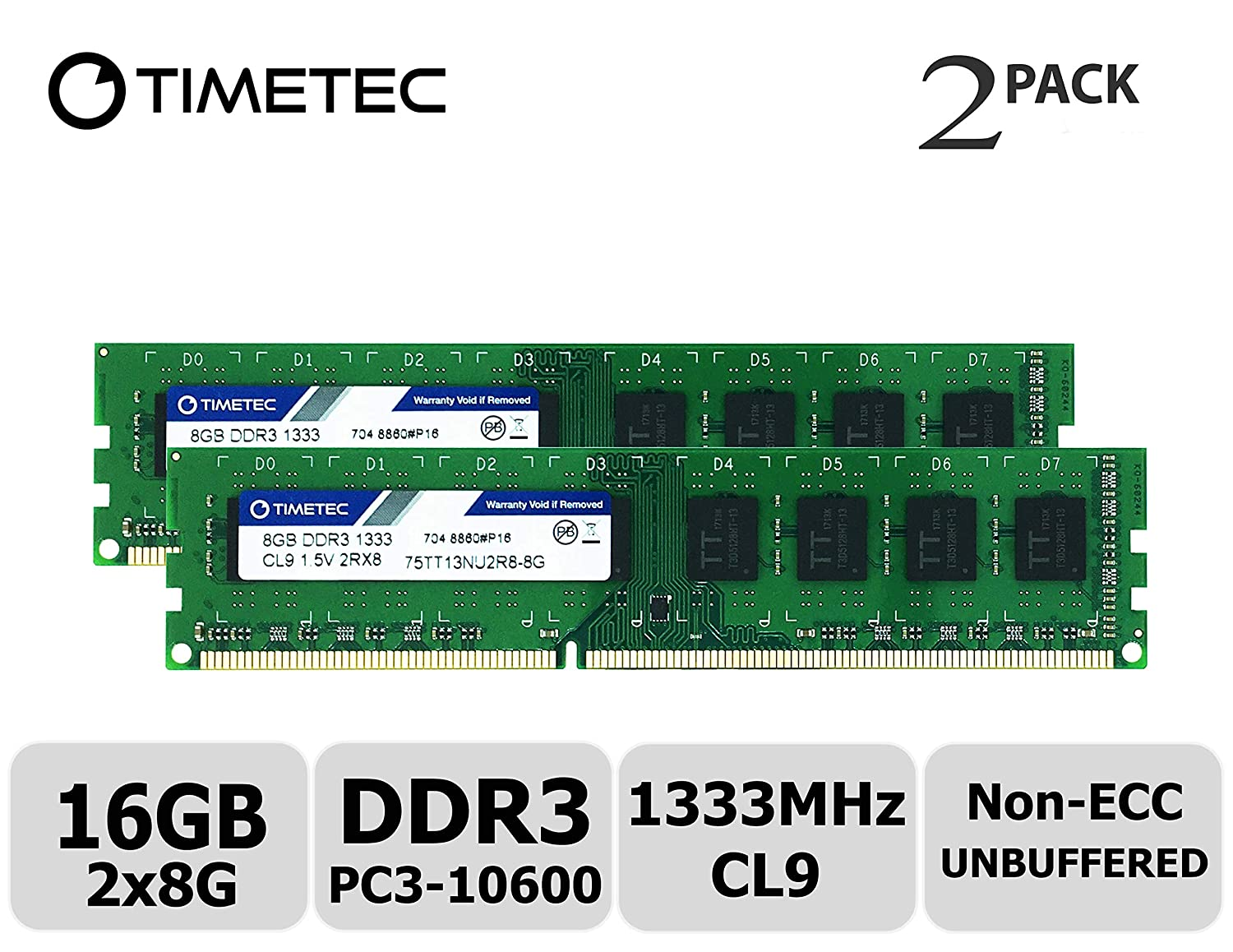 Timetec Hynix IC 8GB DDR3 1333MHz PC3-10600 Unbuffered Non-ECC 1.5V CL9 2Rx8 Dual Rank 240 Pin UDIMM Bureau Mé moire RAM Module Upgrade (8GB) 75TT133U2R8-8G
