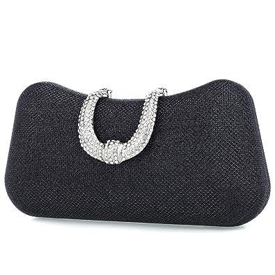 c5f14e5395888c Luxury Flower Women Clutch Purse Rhinestone Crystal Evening Bag for Wedding  Party(BLack)