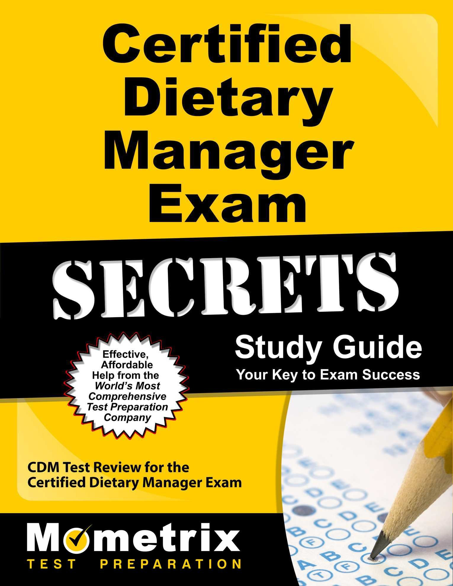 Buy Certified Dietary Manager Exam Secrets Cdm Test Review For The