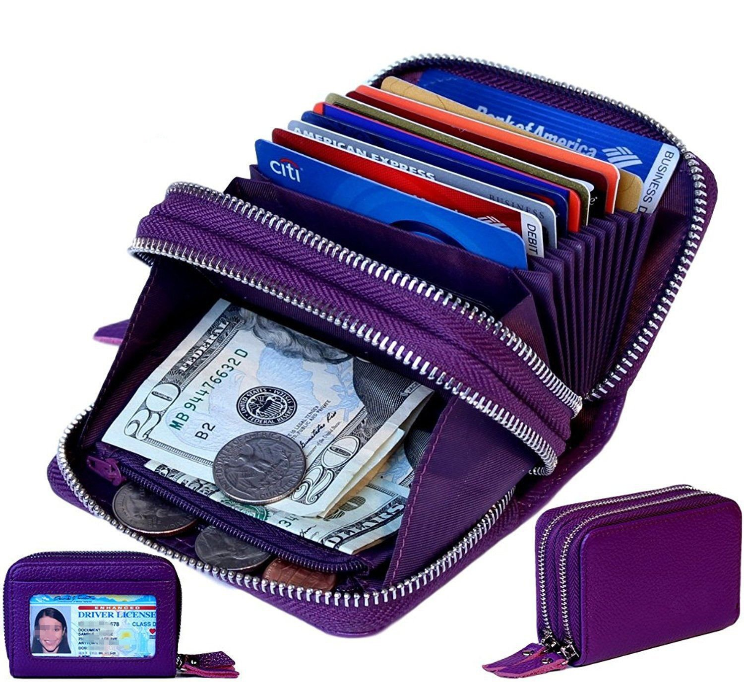TraderPlus Women's RFID Blocking Leather Zipper Card Wallet Small Purse Credit Card Case Holder for Christmas Gift (Purple) by TRADERPLUS