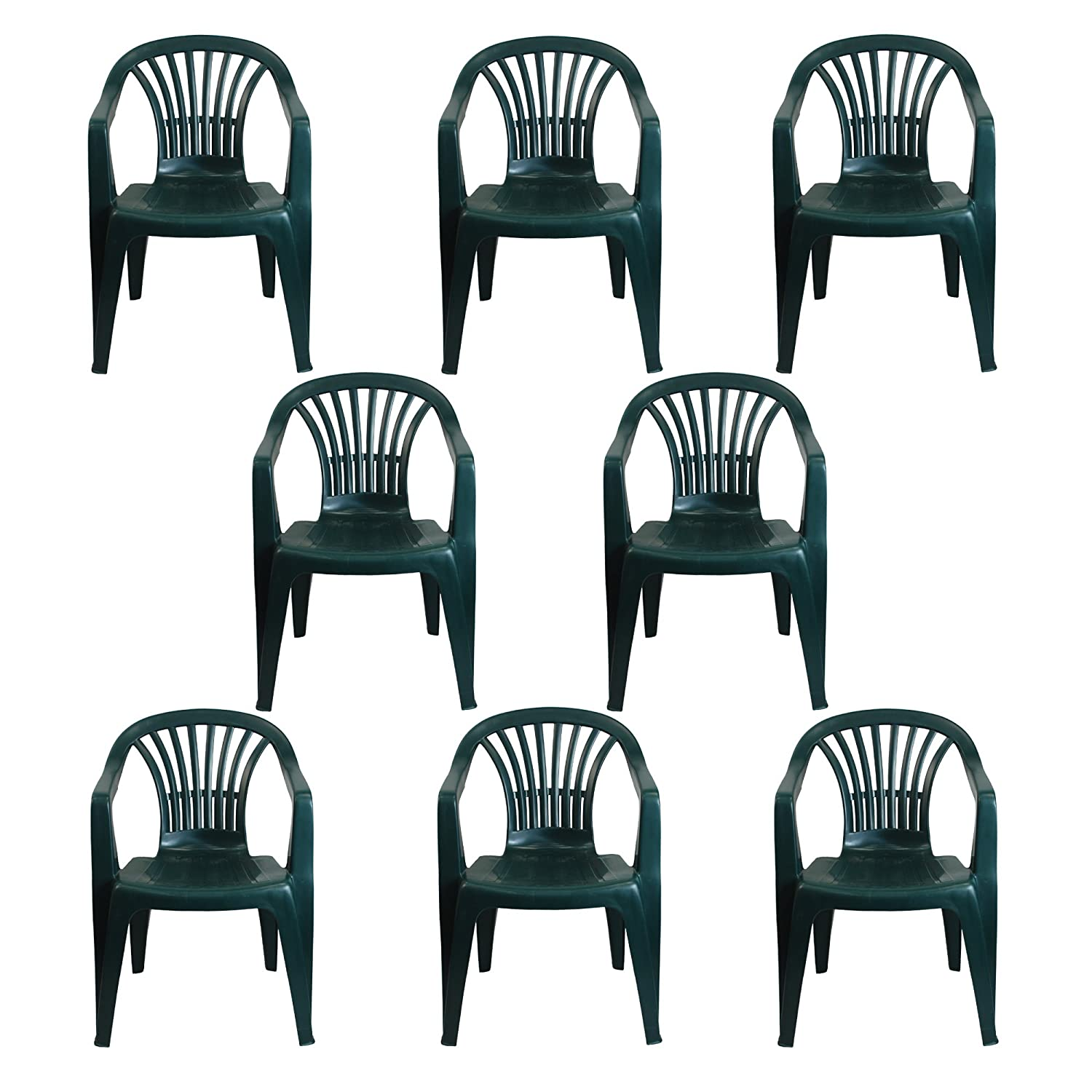 CrazyGadget Plastic Garden Low Back Chair Stackable Patio Outdoor Party Seat Chairs Picnic Green Pack of 8 Simpa