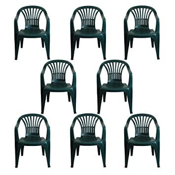 6399d16b8d4f CrazyGadget Plastic Garden Low Back Chair Stackable Patio Outdoor Party  Seat Chairs Picnic Green Pack of