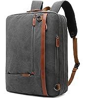 CoolBELL Convertible Backpack Shoulder bag Messenger Bag Laptop Case Business Briefcase Leisure Handbag Multi-functional Travel Rucksack Fits 17.3 Inch Laptop For Men/Women, Dark Grey