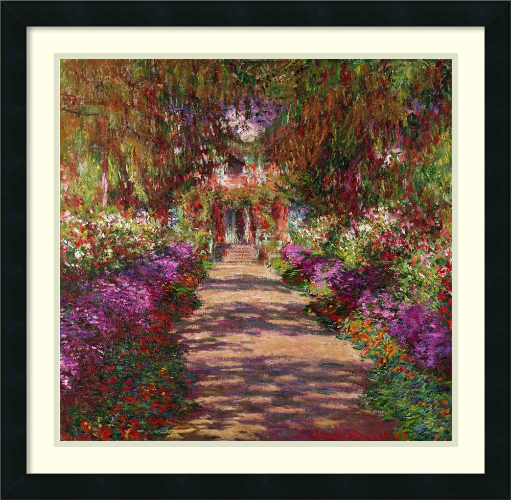 Amazon.com: Framed Art Print \'A Pathway in Monet\'s Garden, Giverny ...
