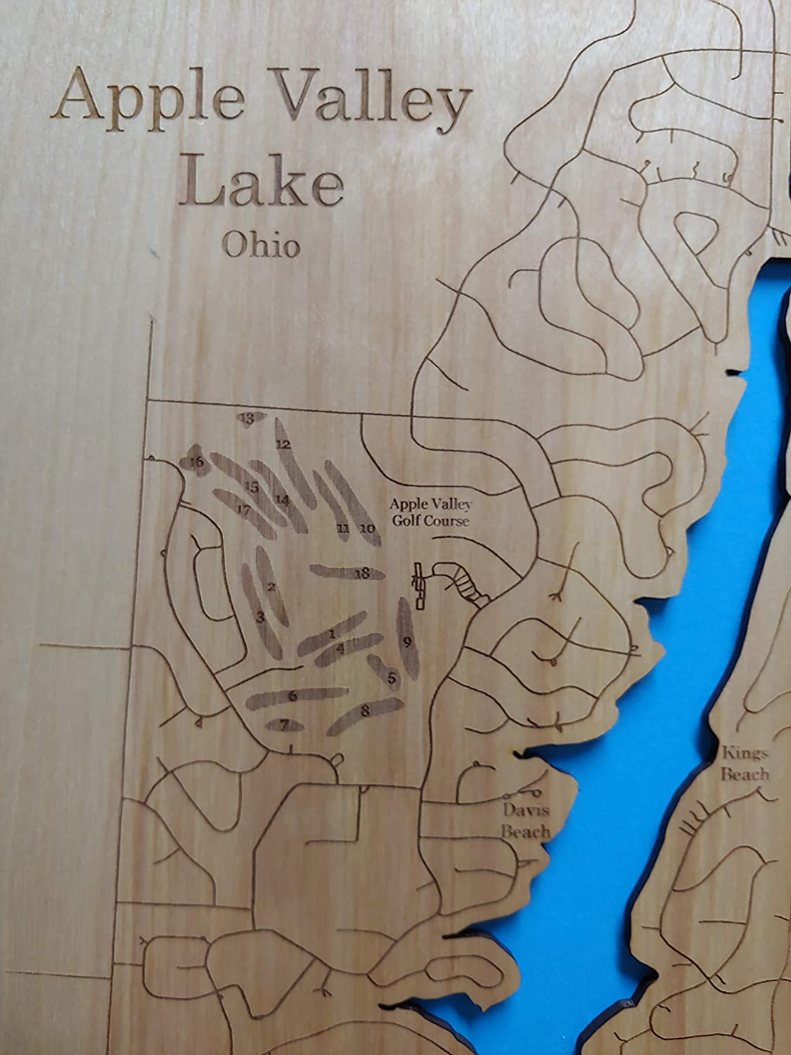 Amazon Com Apple Valley Lake Ohio Standout Wood Map Wall Hanging