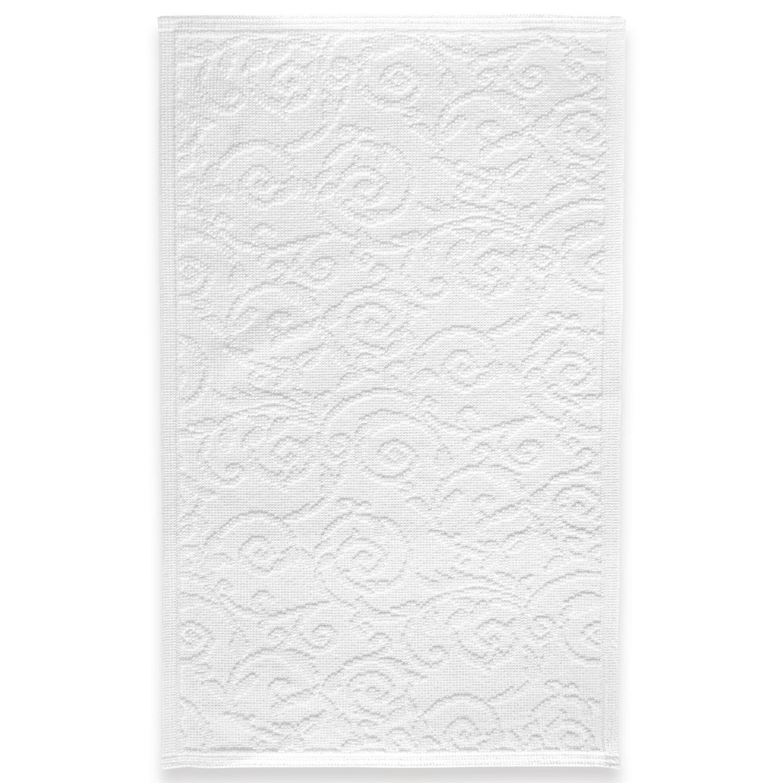 ExtraHome Paisley Vorleger Badeteppich - Badvorleger weiß, Baumwolle, 60 x 100 cm