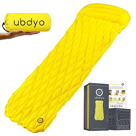ubdyo Ultralight Sleeping Pad – Camping Sleeping Pad – Compact and Comfortable Inflatable Sleeping Pad with Pillow – Lightweight Sleeping Pad for Camping – New Edition Wide Air Sleeping Pad