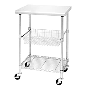 Seville Classics Stainless Steel Professional Kitchen Cart Cutting Table, Small