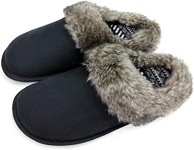 Ladies Knitted Memory Foam Warm Fleece Fur Slippers Boots Size 7-8 NEW