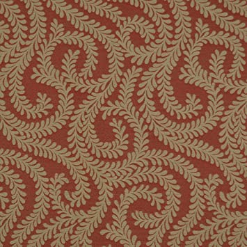 New Chenille Quality Woven Modern Leaf Floral Pattern Orange Upholstery Fabric
