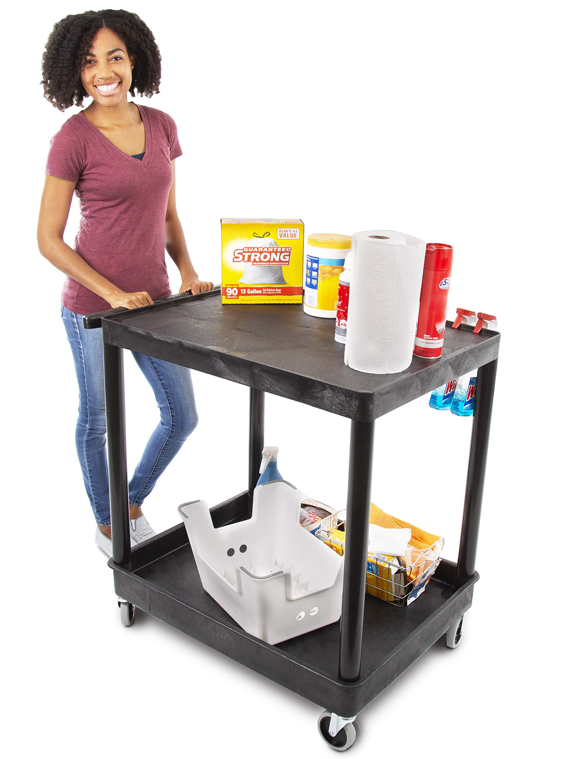 Original Tubstr – Flat Top Utility Cart/Service Cart – Large, 32 x 24 Inches – Heavy Duty, Supports up to 400 lbs!   Lipped Top Shelf & Deep Tub Bottom Shelf– Great for Warehouse, Cleaning & More!
