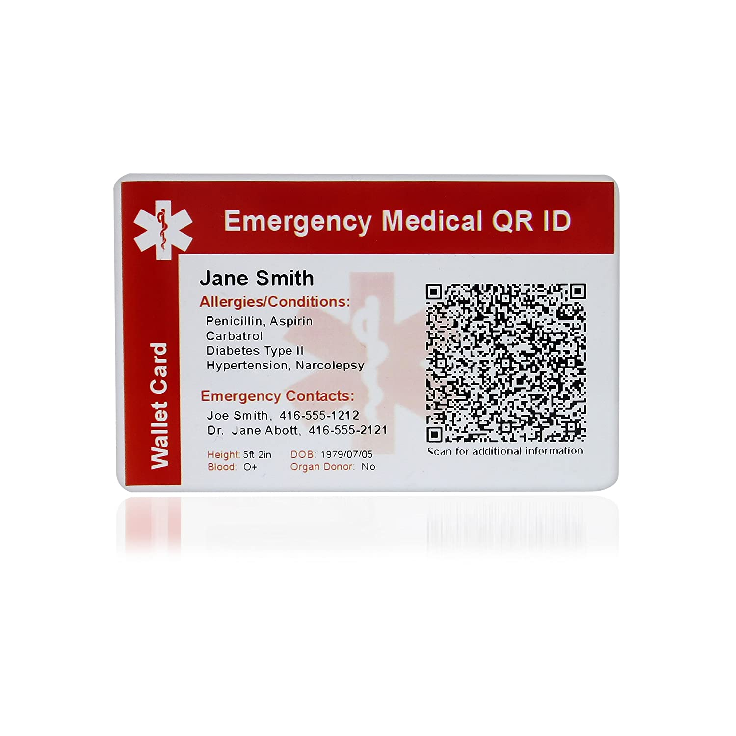 MedicEngraved Emergency Medical QR ID Card - PVC Plastic Wallet Card - Fully customized QR encoding included QR-CARD