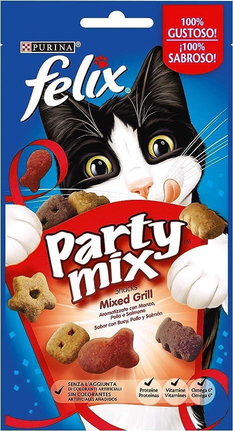 Purina Felix Party Mix Grill Snacks golosinas y chuches para gato 8 x 60 g