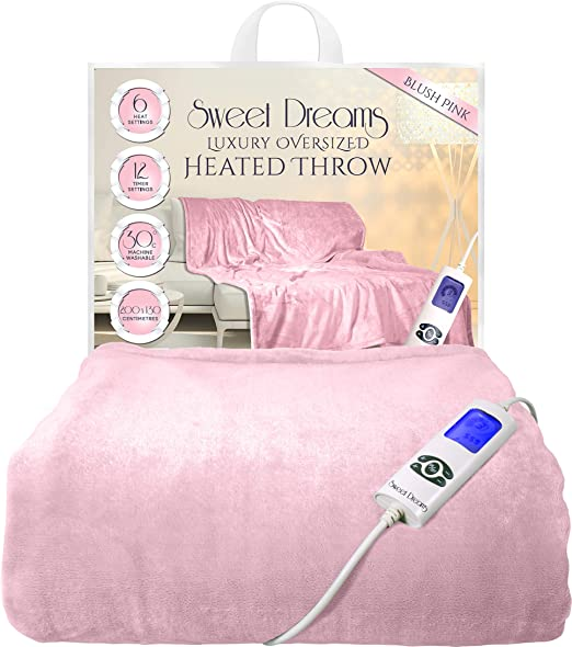 Sweet Dreams Blush - Manta eléctrica para cama doble o king (200 x ...