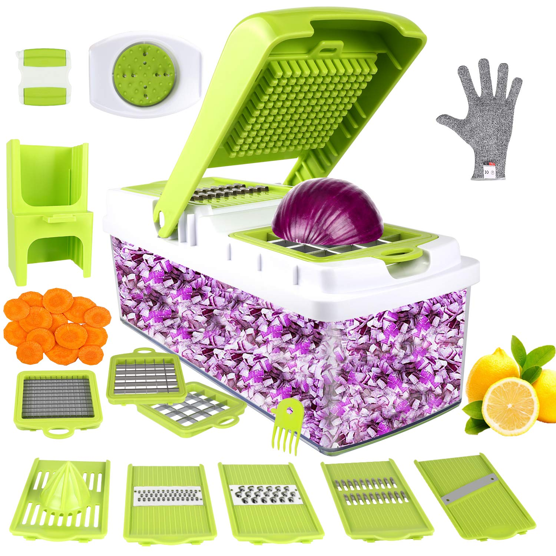 Vegetable Chopper, ONSON Food Chopper Cutter Onion Slicer Dicer, 10 in 1 Veggie Slicer Manual Mandoline for Garlic, Cabbage, Carrot, Potato, Tomato, Fruit, Salad by ONSON