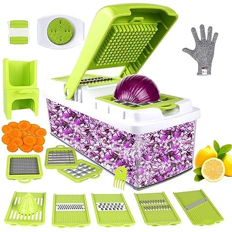 Vegetable Chopper, ONSON Food Chopper Cutter Onion Slicer Dicer, 10 in 1  Veggie Slicer Manual Mandoline for Garlic, Cabbage, Carrot, Potato, Tomato,