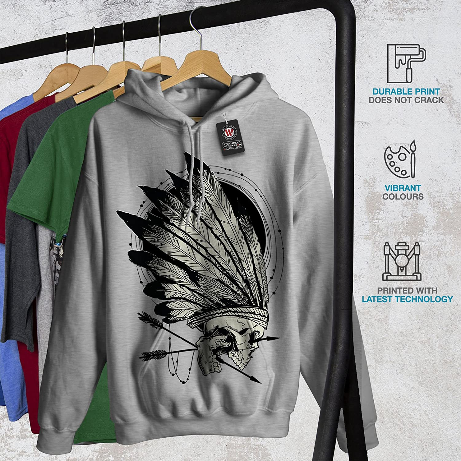 Wellcoda Native Indian Curse Mens Hoodie Skull Denim Hooded Sweatshirt