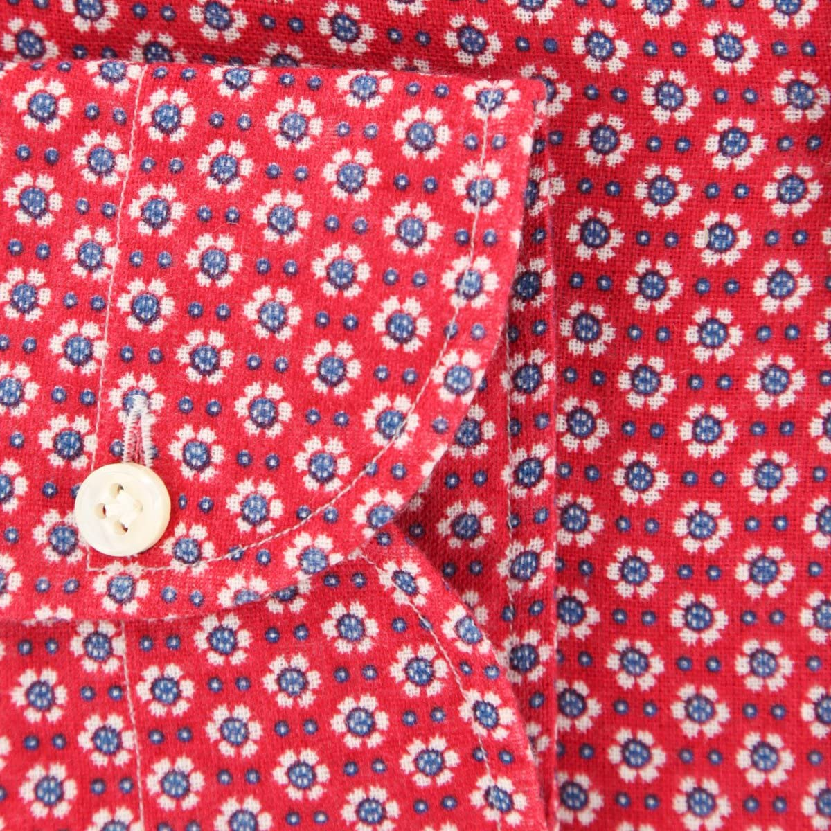 Giampaolo Patterned Button Down Spread Collar Linen Slim Fit Dress Shirt