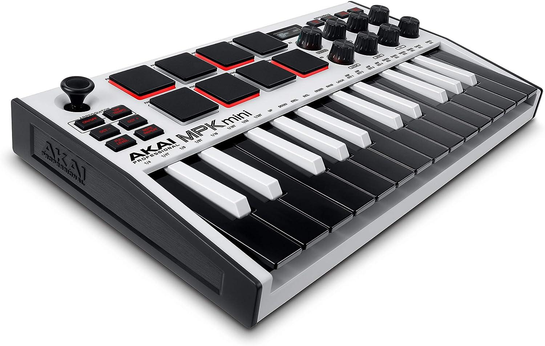 AKAI Professional MPK Mini MK3 White - Teclado Controlador MIDI USB de 25 Teclas con 8 Drum Pads, 8 Perillas y Software de Producción Musical Incluido, Blanco