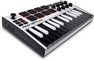 AKAI Professional MPK Mini MK3 | 25 Key USB MIDI Keyboard Controller With 8 Backlit Drum Pads, 8 Knobs and Music Production Software included (White)