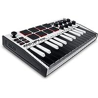 AKAI Professional MPK Mini MK3 White - Teclado Controlador MIDI USB de 25 Teclas con 8 Drum Pads, 8 Perillas y Software…