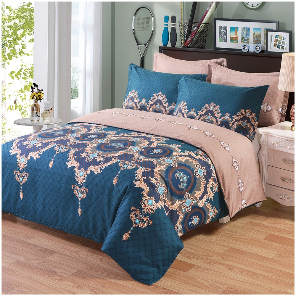 Phoenix tree Duvet Cover, Protects Covers your Comforter/Duvet Insert, Luxury 100% Super Soft Microfiber, 3 Piece Duvet Cover Set Includes 2 Pillow Shams(Queen,Hera)