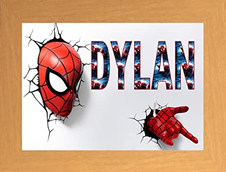 Personalised Childs Name Frame Spiderman: Amazon.co.uk: Kitchen & Home