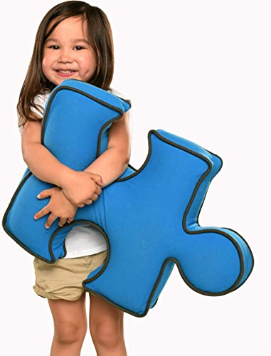 Yogibo Puzzle Shaped Pillow for Kids, Fun, Cute, Decorative Throw Accent Cushion, Filled with Soft, Comfy FiBeads, Turquoise