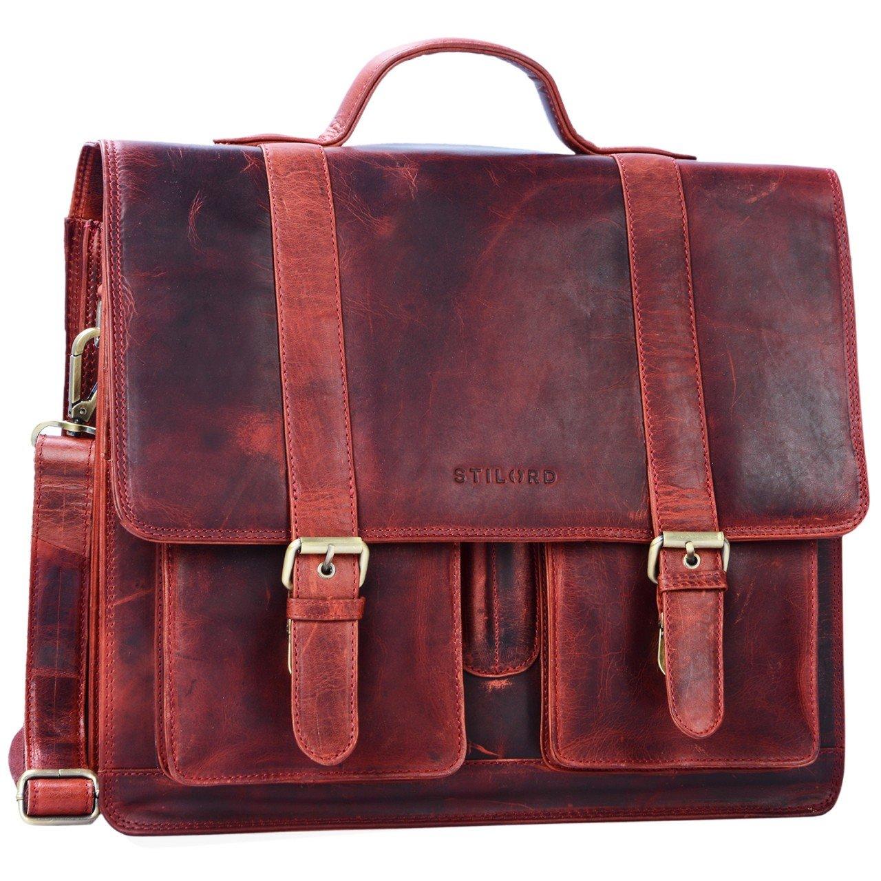 STILORD 'Marius' Klassische Lehrertasche Leder Schultasche XL groß Aktentasche zum Umhängen Businesstasche Laptoptasche echtes Rindsleder , Farbe:kara - rot