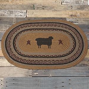 "VHC Brands 37911 Primitive Flooring-Heritage Farms Tan Sheep Oval Jute Rug, 1'8"" x 2'6"", Mustard Yellow"