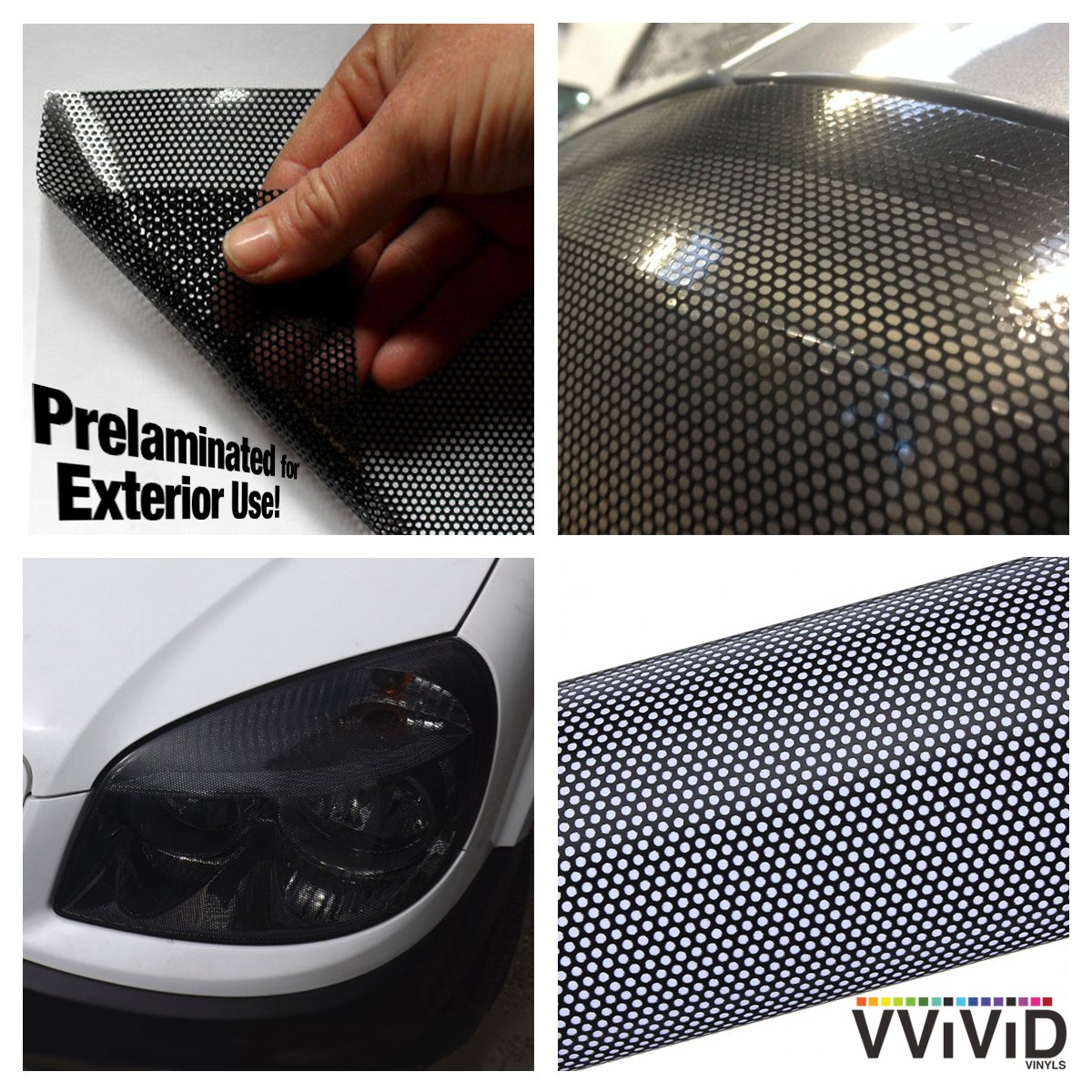 17.9 x 48 VViViD Black Perforated Headlight Vinyl Wrap Self-Adhesive DIY Cover Roll