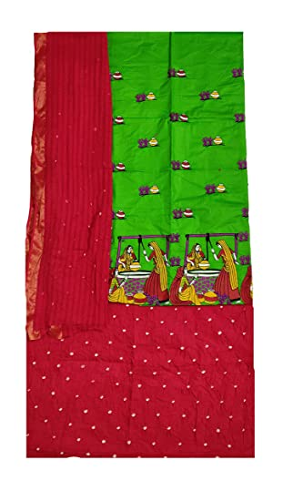 d31d3e33a7 IndiaCarvan Kutch Embroidered Bandhani Cotton Dress material women (Green  and Red)