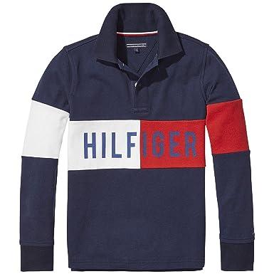 e9eacddecd341a Tommy Hilfiger Boys Hilfiger Block Long Sleeve Polo Shirt - Navy Blazer - 5  Years: Amazon.co.uk: Clothing